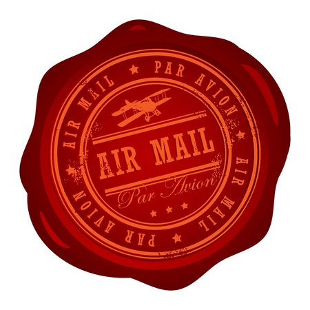 air mail: Wax seal with small stars and the word Air Mail inside Illustration
