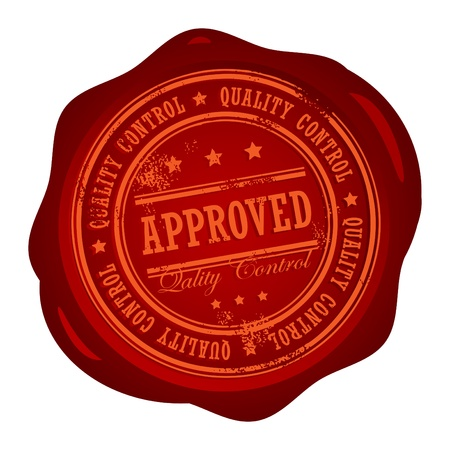 Wax seal with small stars and the word Approved Quality Control inside Vector