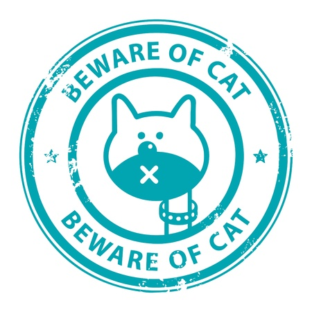 Grunge rubber stamp with cat and the word Beware of Cat written inside the stamp Stock Vector - 14019100
