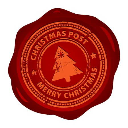 seal brown: Wax seal with small stars and the word Christmas Post inside Illustration