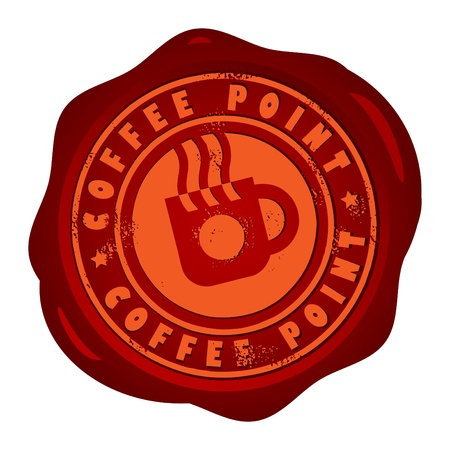 savor: Wax seal with small stars and the word Coffee Point inside