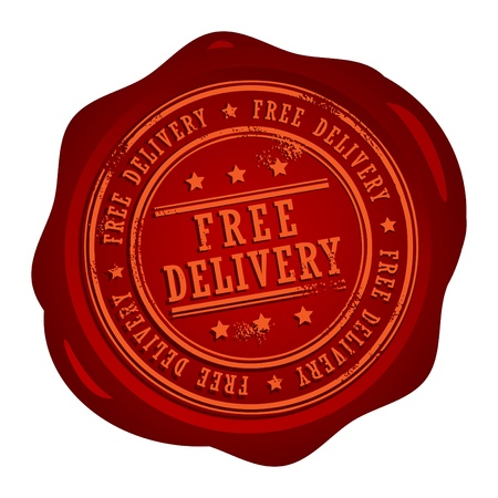 Wax seal with small stars and the word Free Delivery Vector