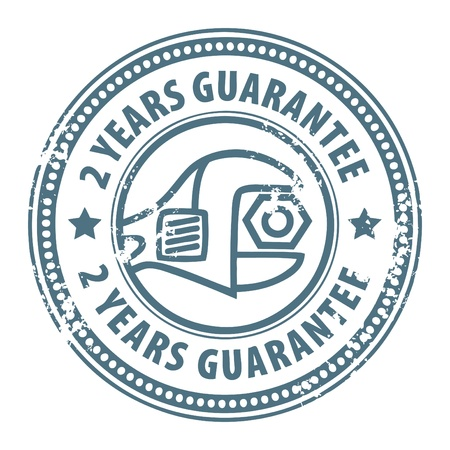 stamp seal: Abstract grunge rubber stamp with wrench and the word 2 years guarantee written inside the stamp Illustration