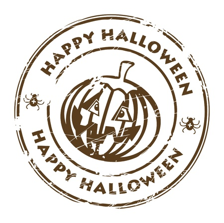 happy halloween: Abstract brown grunge rubber stamp with pumpkin and the word Happy Halloween written inside the stamp
