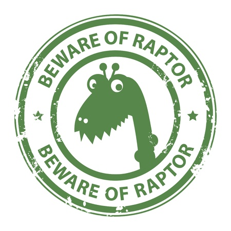 Grunge rubber stamp with Raptor and the word Beware of Raptor written inside the stamp Vector