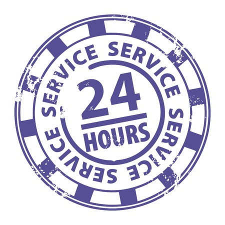 twenty four hours: Abstract grunge rubber stamp with the word 24 hour service written inside the stamp