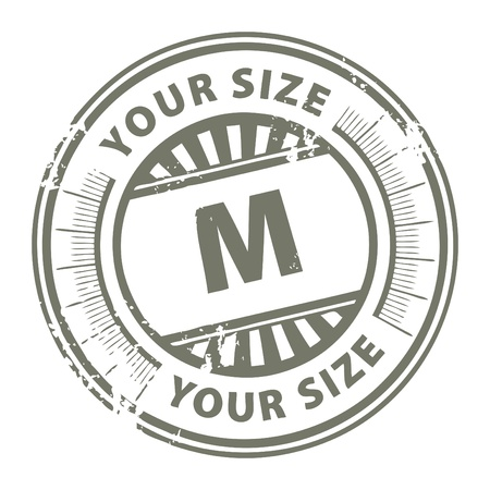 Grunge stamp with the clothing size M written inside Stock Vector - 14019094
