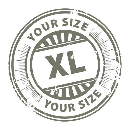 Grunge stamp with the clothing size XL written inside Vector