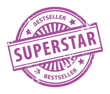 Abstract rubber grunge stamp with the word Superstar Vector