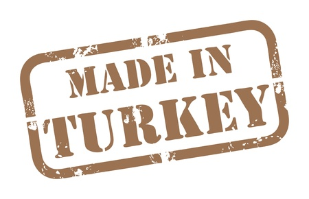 Abstract grunge rubber stamp with the word Made in Turkey written inside the stamp Vector