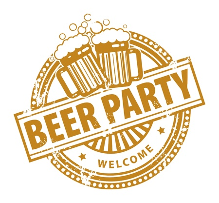 vasos de cerveza: Grunge sello de goma, con las jarras de cerveza y la cerveza del Partido de texto escrito en su interior