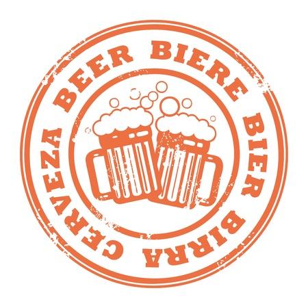 Grunge sello de caucho con jarras de cerveza y la cerveza de un texto escrito en el interior del sello