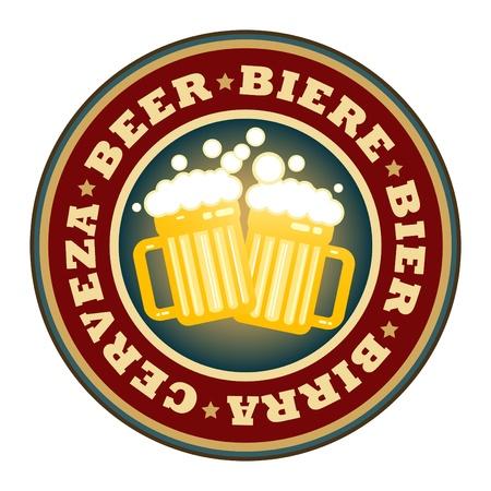 brew beer: Etiqueta con jarras de cerveza y la cerveza texto escrito en el interior