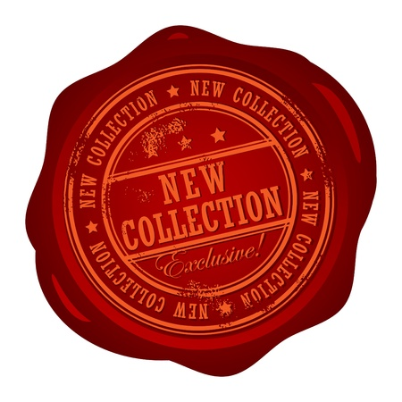 wax stamp: Wax seal with small stars and the word New Collection Illustration
