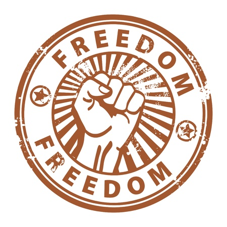 Grunge rubber stamp with the fist and word freedom written inside Vector