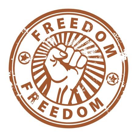 autonomia: Grunge sello de caucho con puño de la libertad y la palabra escrita en el interior