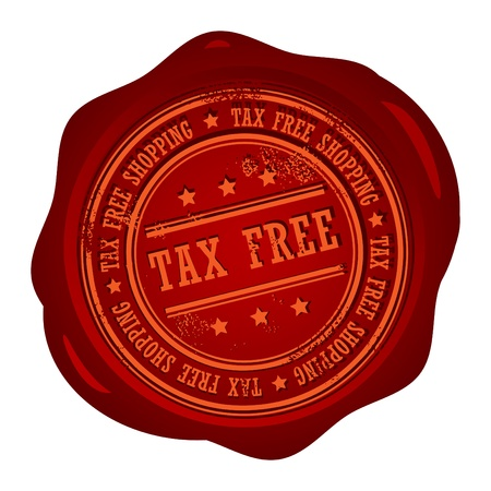 Wax seal with small stars and the word Tax Free Vector