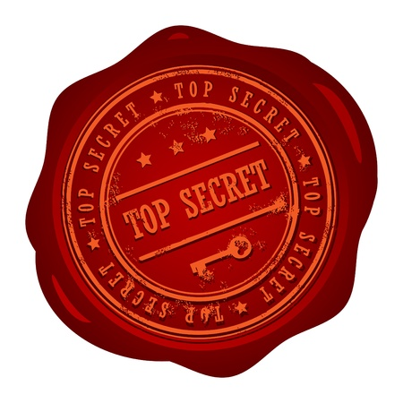 espionage: Wax seal with small stars and the word Top Secret,