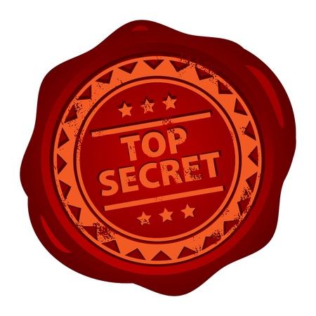 espionaje: Sello de cera con peque�as estrellas y la palabra secreta Top