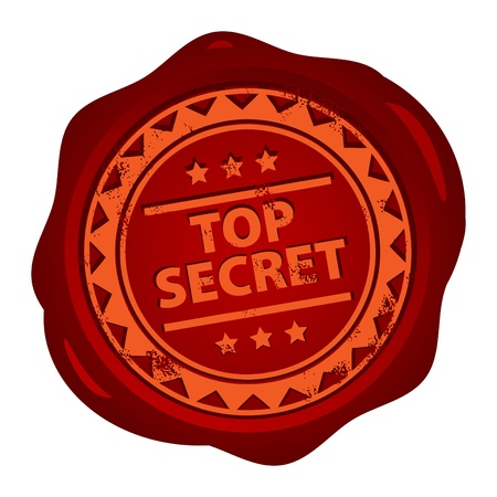 Wax seal with small stars and the word Top Secret Vector