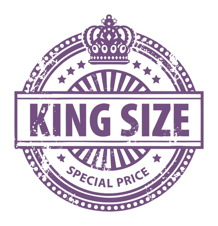 crown king: Abstract grunge rubber stamp with small stars, crown and the word King Size written inside the stamp Illustration