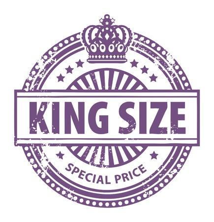 corona de rey: Grunge sello de caucho con peque�as estrellas, corona y la King Size palabra escrita dentro del sello