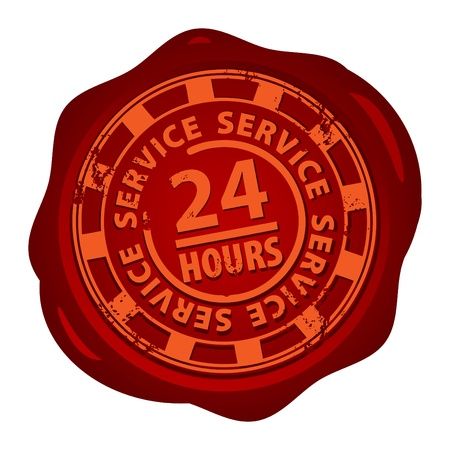 twenty four hours: Wax seal with the word 24 hour service inside