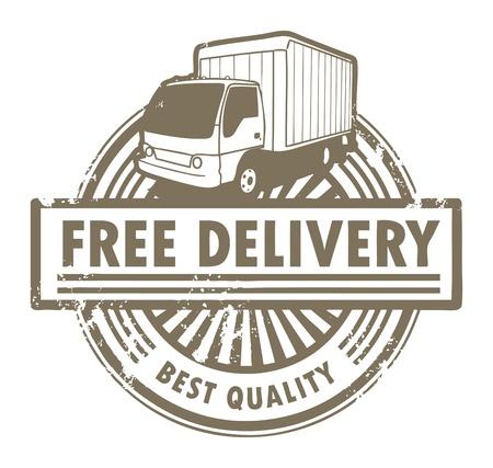 teherautók: Grunge, gumi, bélyeg egy szállítási autót, és a szöveg Free Delivery belül Illusztráció