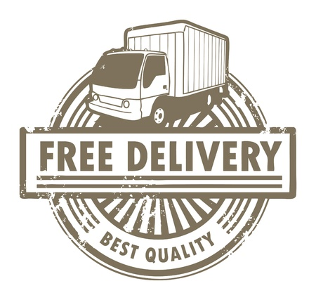 order shipping: Grunge rubber stamp with a delivery car and the text Free Delivery inside