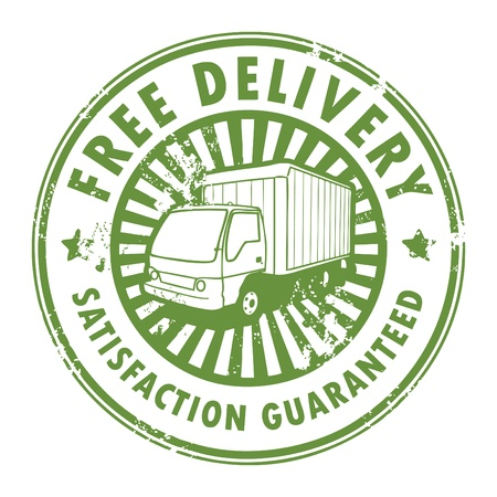 shipping order: Grunge rubber stamp with a delivery car in the middle and the text free delivery written inside the stamp Illustration