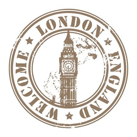 timbre voyage: Grunge rubber stamp à Londres, en Angleterre, Bienvenue à l'intérieur