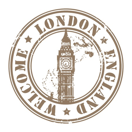 big ben tower: Grunge rubber stamp with London, England, Welcome inside Illustration