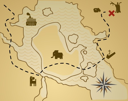 ancient map: Treasure map Illustration