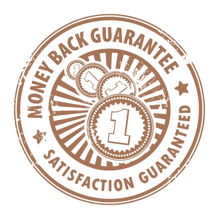 back round: Grunge rubber stamp with the text money back guarantee inside