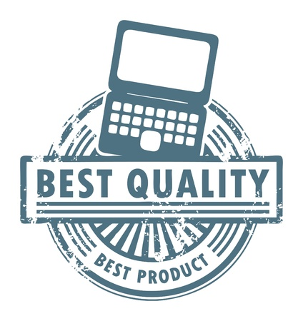 Grunge rubber stamp with the laptop computer and word best quality written inside Vector