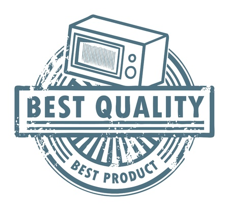 Grunge rubber stamp with the microwave oven and word best quality written inside Vector