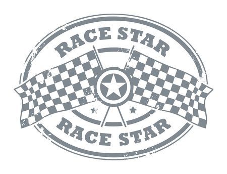Grunge rubber stamp with Checkered Flags and the text Race Star written inside Vector