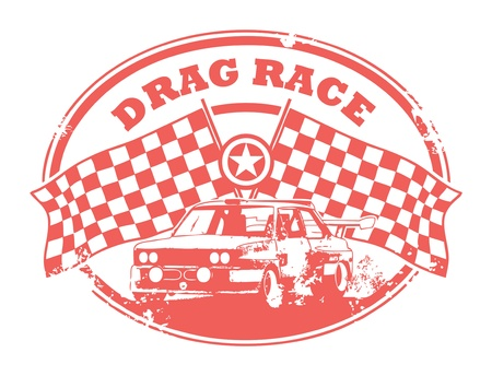 rallying: Grunge rubber stamp with Checkered Flags and the text Drag Race written inside Illustration