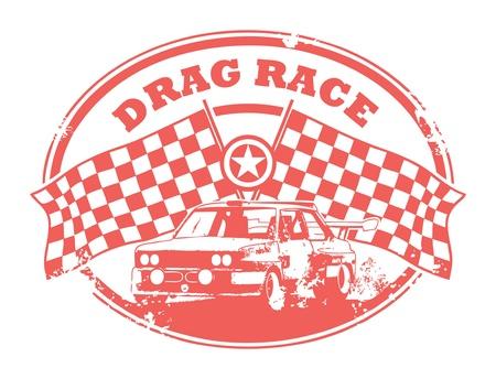 drag race: Grunge sello de caucho con banderas a cuadros y el texto escrito Drag Race interior