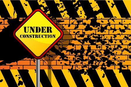 Under construction grunge background Vector