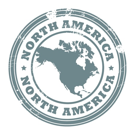 Tampon en caoutchouc grunge avec le texte écrit en Amérique du Nord à l'intérieur du timbre