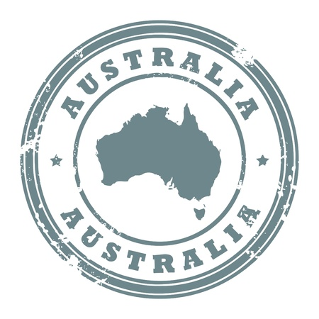 australia stamp: Grunge rubber stamp with the text Australia written inside the stamp