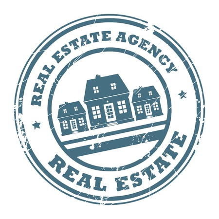 Grunge rubber stamp with houses and the text real estate agency written inside the stamp Vector