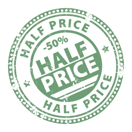 half price: Grunge stamp with the words Half Price written inside