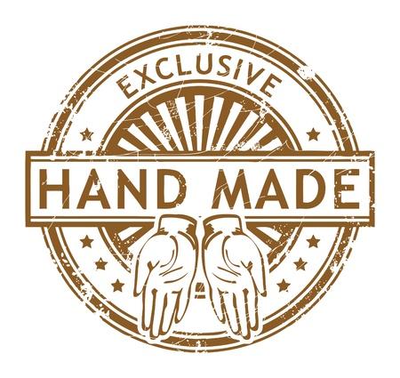 Grunge rubberen stempel met kleine sterren en het woord Hand Made, Exclusive binnen