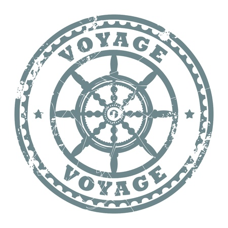 Grunge rubber stamp with steering wheel and the text Voyage written inside the stamp Vector