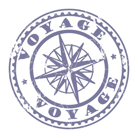 Grunge rubber stamp with compass and the text Voyage written inside the stamp Vector