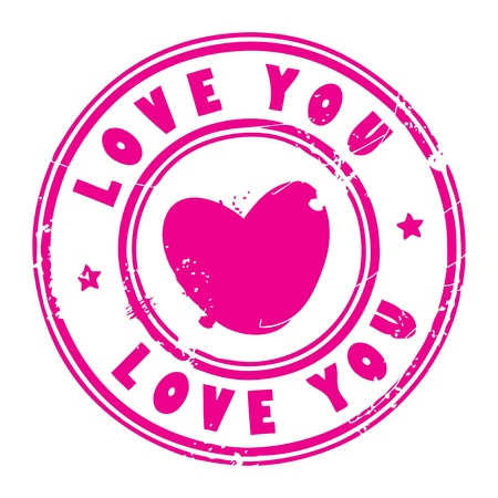 word love: Abstract grunge rubber stamp with the words love you written inside the stamp