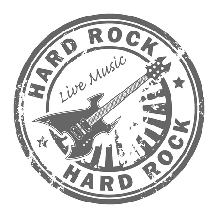 music emblem: Grunge rubber stamp with the guitar and the words Hard Rock written inside the stamp