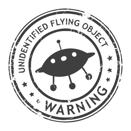 cautious: Grunge rubber stamp with UFO and the text unidentified flying object written inside the stamp
